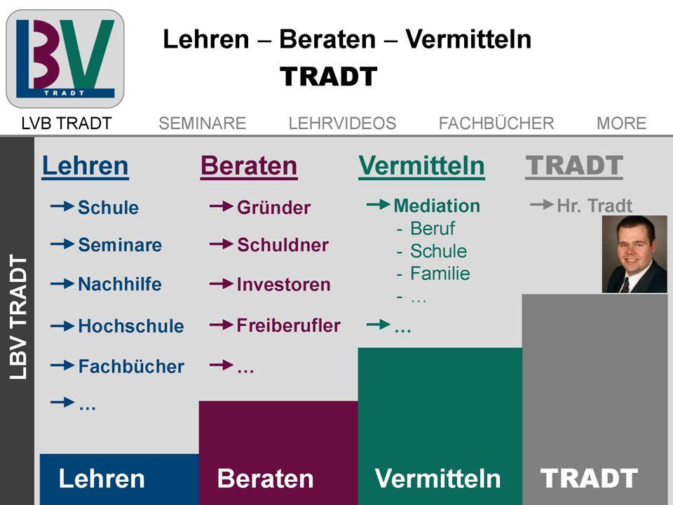 Lehren - Beraten - Vermitteln TRADT Inhaber: Dipl.-Betriebswirt (FH) Martin Tradt M.Sc. Produkte und Dienstleistungen Lehren: Schule, Seminare, Nachhi