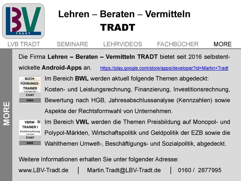 Die Firma Lehren – Beraten – Vermitteln TRADT bietet seit 2016 selbstentwickelte Android-Apps an. https://play.google.com/store/apps/developer?id=Mart