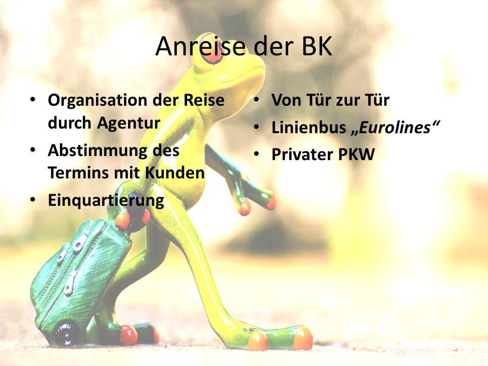 """Anreise der BK Organisation der Reise durch Agentur Abstimmung des Termins mit Kunden Einquartierung Von Tür zur Tür Linienbus """"Eurolines Privater PKW"""