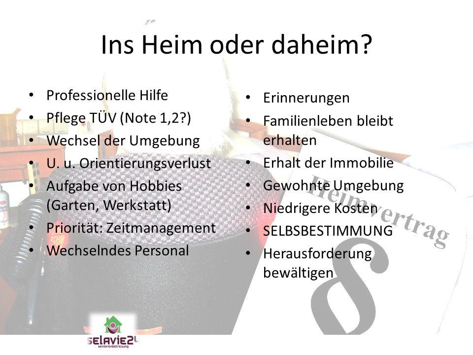Ins Heim oder daheim? Professionelle Hilfe Pflege TÜV (Note 1,2?) Wechsel der Umgebung U. u. Orientierungsverlust Aufgabe von Hobbies (Garten, Werksta