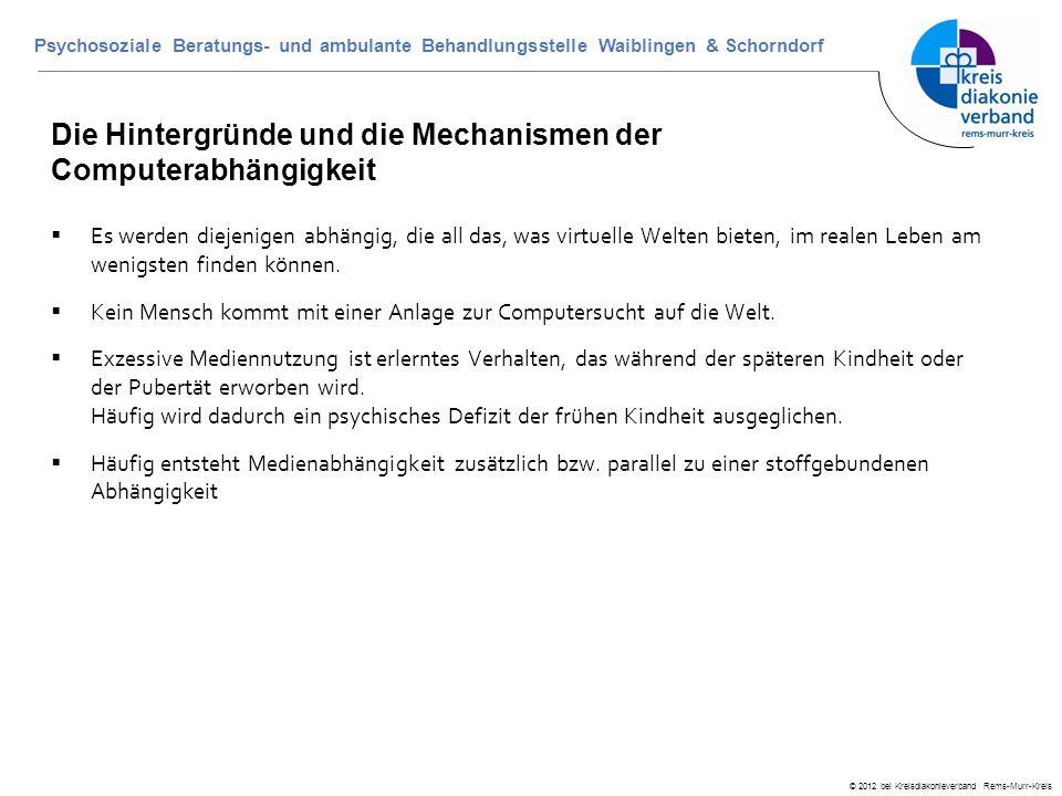 © 2012 bei Kreisdiakonieverband Rems-Murr-Kreis Psychosoziale Beratungs- und ambulante Behandlungsstelle Waiblingen & Schorndorf Die Hintergründe und