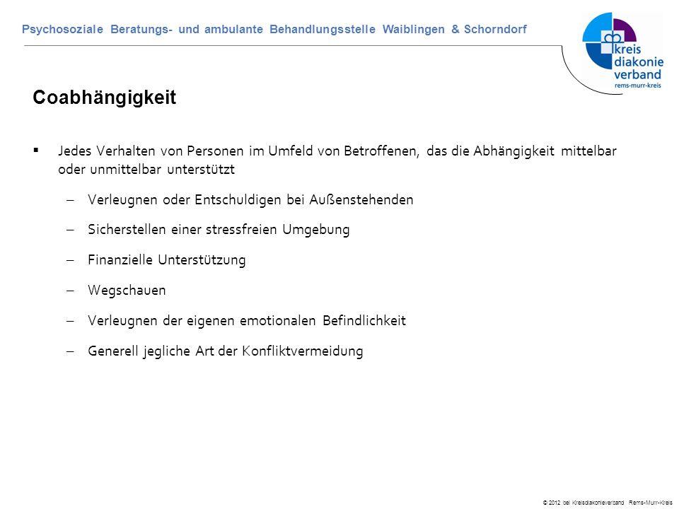 © 2012 bei Kreisdiakonieverband Rems-Murr-Kreis Psychosoziale Beratungs- und ambulante Behandlungsstelle Waiblingen & Schorndorf Coabhängigkeit  Jede