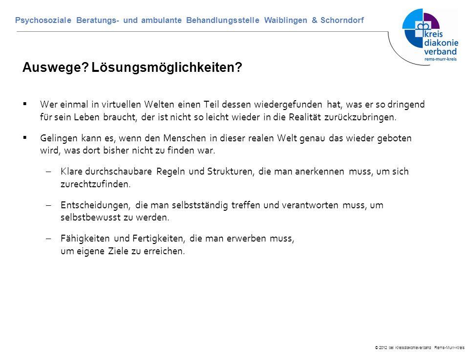 © 2012 bei Kreisdiakonieverband Rems-Murr-Kreis Psychosoziale Beratungs- und ambulante Behandlungsstelle Waiblingen & Schorndorf Auswege? Lösungsmögli