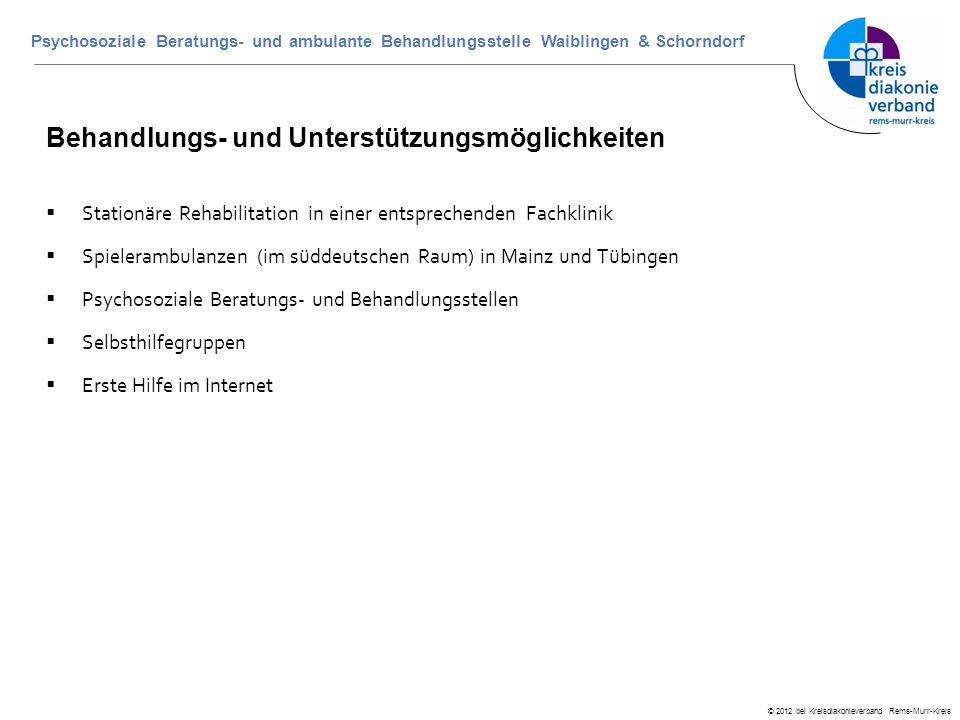 © 2012 bei Kreisdiakonieverband Rems-Murr-Kreis Psychosoziale Beratungs- und ambulante Behandlungsstelle Waiblingen & Schorndorf Behandlungs- und Unte