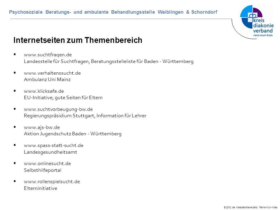 © 2012 bei Kreisdiakonieverband Rems-Murr-Kreis Psychosoziale Beratungs- und ambulante Behandlungsstelle Waiblingen & Schorndorf Internetseiten zum Th