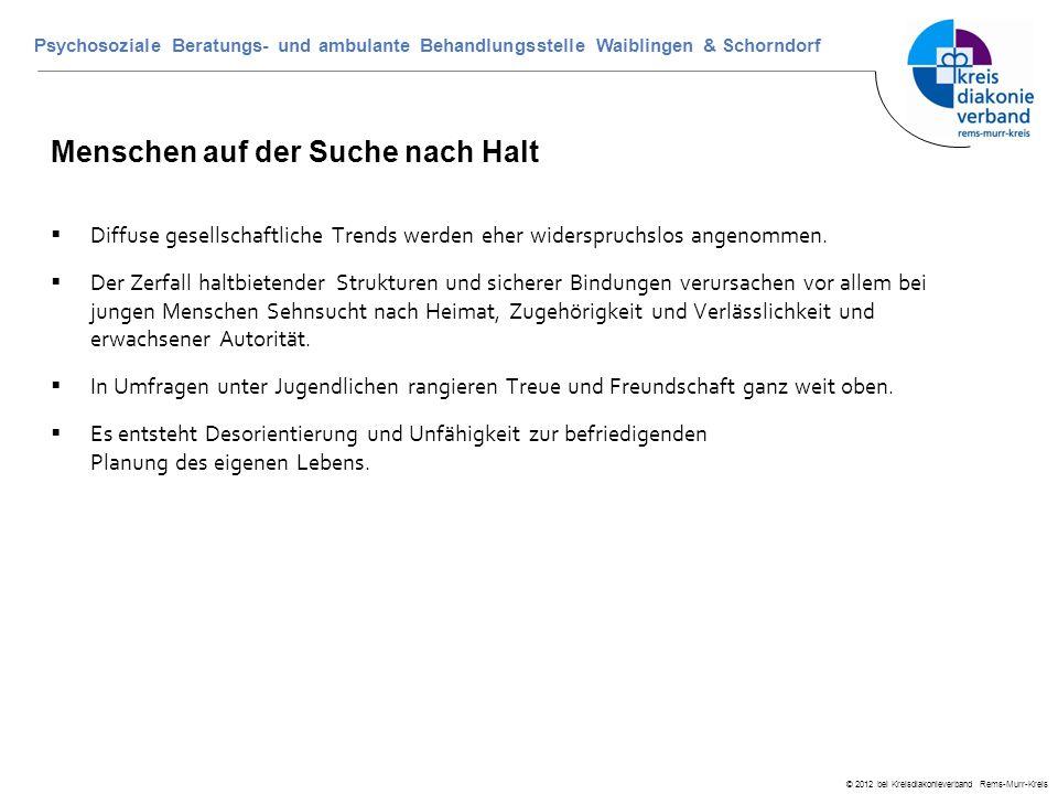 © 2012 bei Kreisdiakonieverband Rems-Murr-Kreis Psychosoziale Beratungs- und ambulante Behandlungsstelle Waiblingen & Schorndorf Menschen auf der Such