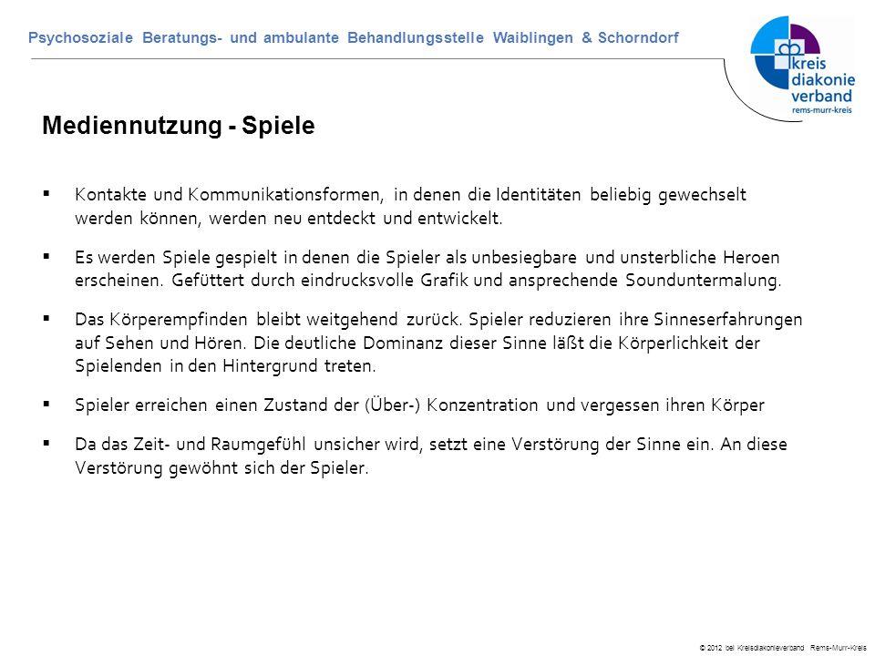 © 2012 bei Kreisdiakonieverband Rems-Murr-Kreis Psychosoziale Beratungs- und ambulante Behandlungsstelle Waiblingen & Schorndorf Mediennutzung - Spiel