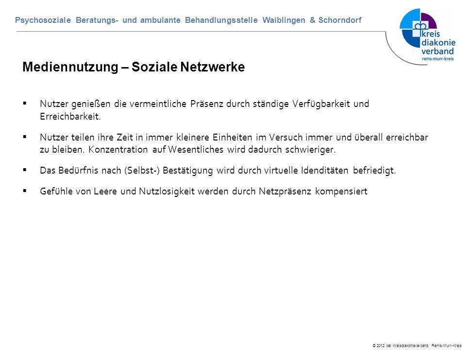 © 2012 bei Kreisdiakonieverband Rems-Murr-Kreis Psychosoziale Beratungs- und ambulante Behandlungsstelle Waiblingen & Schorndorf Mediennutzung – Sozia