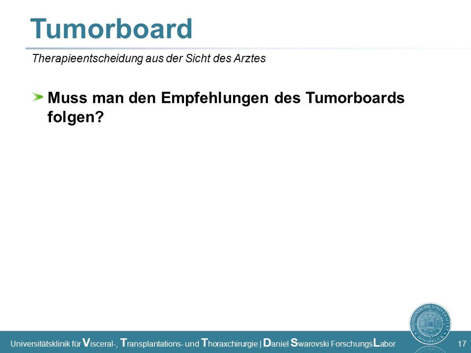 Universitätsklinik für V isceral-, T ransplantations- und T horaxchirurgie | D aniel S warovski Forschungs L abor 17 Tumorboard Muss man den Empfehlungen des Tumorboards folgen.
