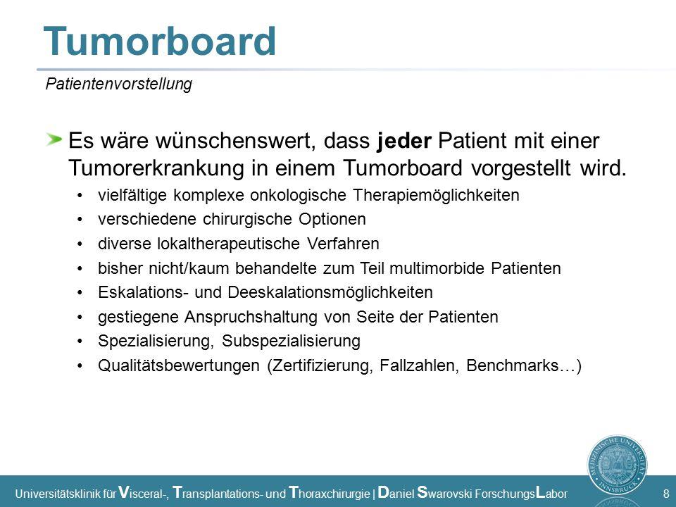 Universitätsklinik für V isceral-, T ransplantations- und T horaxchirurgie | D aniel S warovski Forschungs L abor 8 Tumorboard Es wäre wünschenswert, dass jeder Patient mit einer Tumorerkrankung in einem Tumorboard vorgestellt wird.