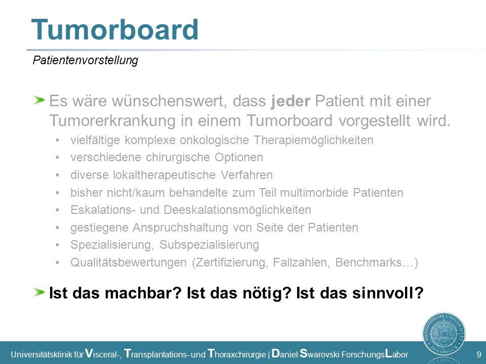 Universitätsklinik für V isceral-, T ransplantations- und T horaxchirurgie | D aniel S warovski Forschungs L abor 9 Tumorboard Es wäre wünschenswert, dass jeder Patient mit einer Tumorerkrankung in einem Tumorboard vorgestellt wird.