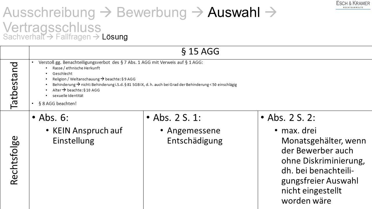 Ausschreibung  Bewerbung  Auswahl  Vertragsschluss § 15 AGG Verstoß gg.