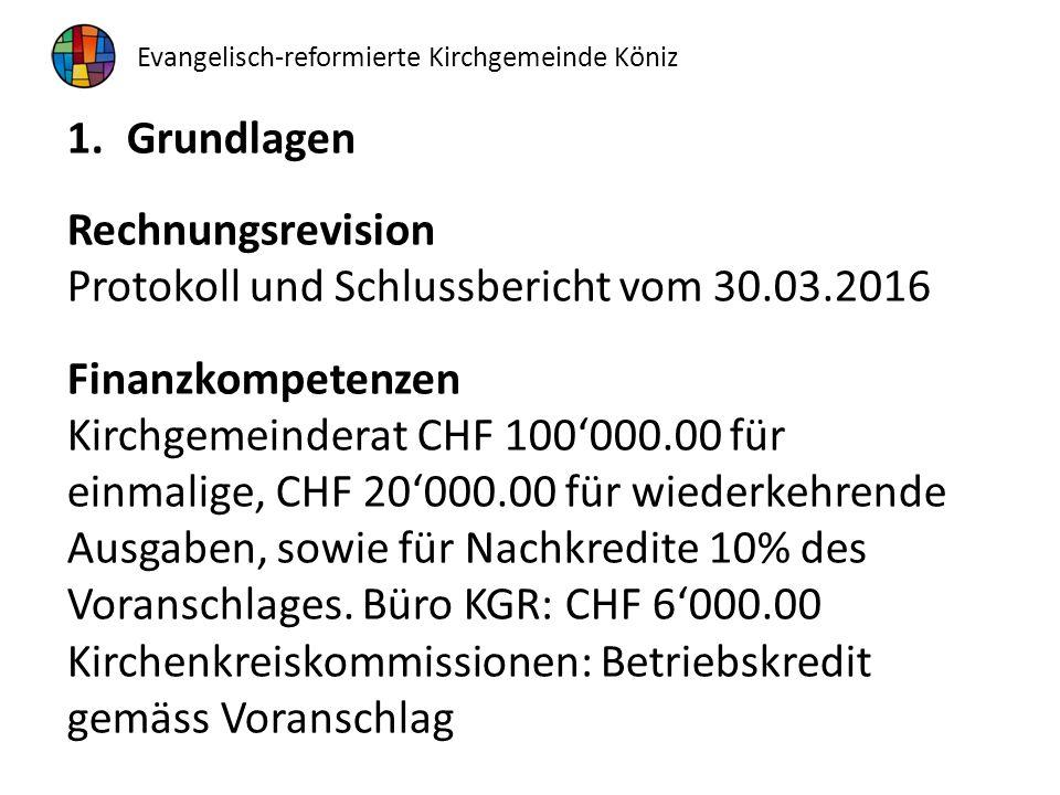 1.Grundlagen Rechnungsrevision Protokoll und Schlussbericht vom 30.03.2016 Finanzkompetenzen Kirchgemeinderat CHF 100'000.00 für einmalige, CHF 20'000.00 für wiederkehrende Ausgaben, sowie für Nachkredite 10% des Voranschlages.