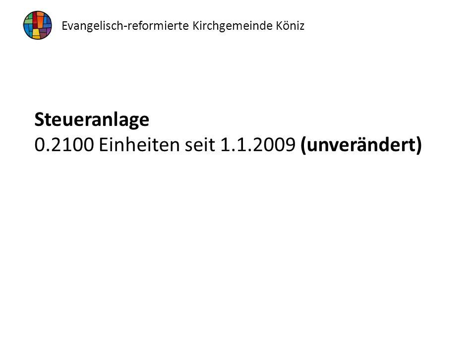 Steueranlage 0.2100 Einheiten seit 1.1.2009 (unverändert) Evangelisch-reformierte Kirchgemeinde Köniz