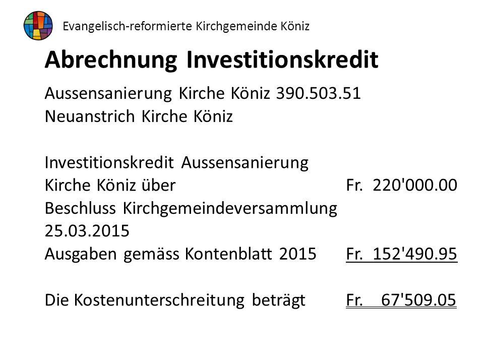 Abrechnung Investitionskredit Aussensanierung Kirche Köniz 390.503.51 Neuanstrich Kirche Köniz Investitionskredit Aussensanierung Kirche Köniz über Fr.