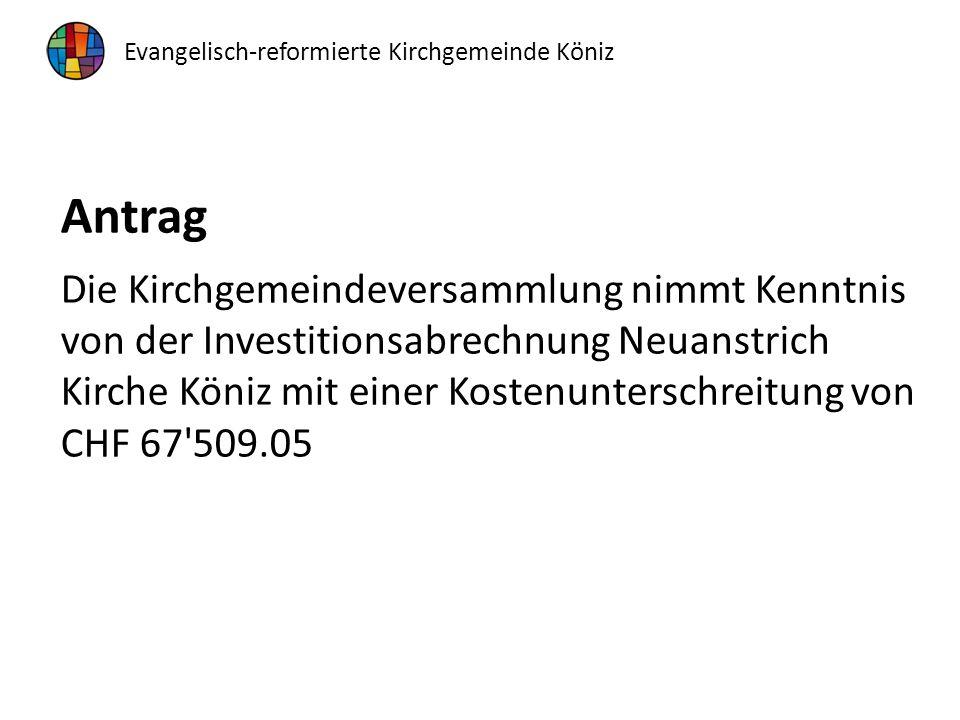 Antrag Die Kirchgemeindeversammlung nimmt Kenntnis von der Investitionsabrechnung Neuanstrich Kirche Köniz mit einer Kostenunterschreitung von CHF 67 509.05 Evangelisch-reformierte Kirchgemeinde Köniz