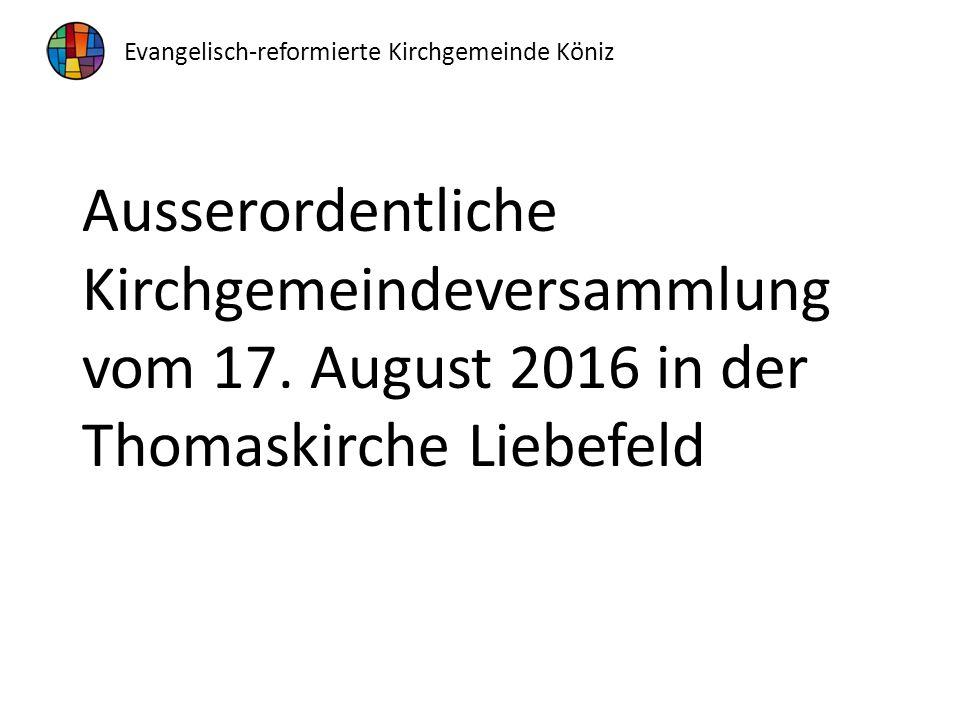 Ausserordentliche Kirchgemeindeversammlung vom 17.