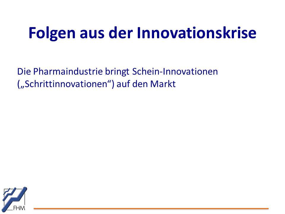 """Folgen aus der Innovationskrise Die Pharmaindustrie bringt Schein-Innovationen (""""Schrittinnovationen ) auf den Markt"""