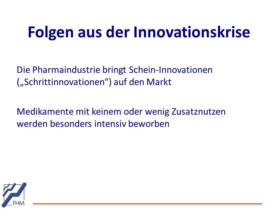 """Die Pharmaindustrie bringt Schein-Innovationen (""""Schrittinnovationen ) auf den Markt Medikamente mit keinem oder wenig Zusatznutzen werden besonders intensiv beworben Folgen aus der Innovationskrise"""