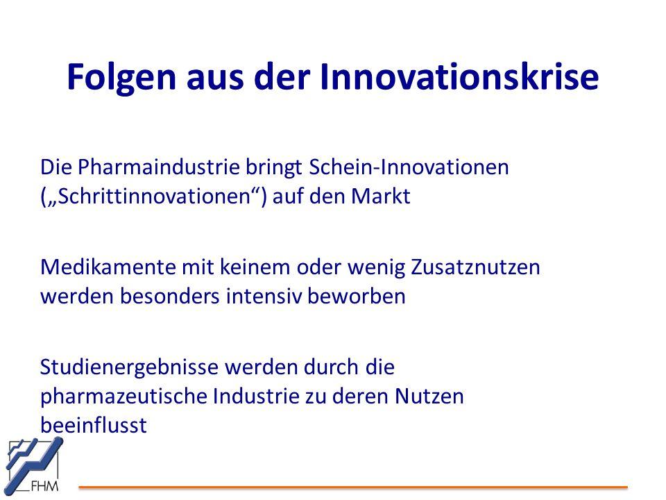 """Die Pharmaindustrie bringt Schein-Innovationen (""""Schrittinnovationen ) auf den Markt Medikamente mit keinem oder wenig Zusatznutzen werden besonders intensiv beworben Studienergebnisse werden durch die pharmazeutische Industrie zu deren Nutzen beeinflusst Folgen aus der Innovationskrise"""
