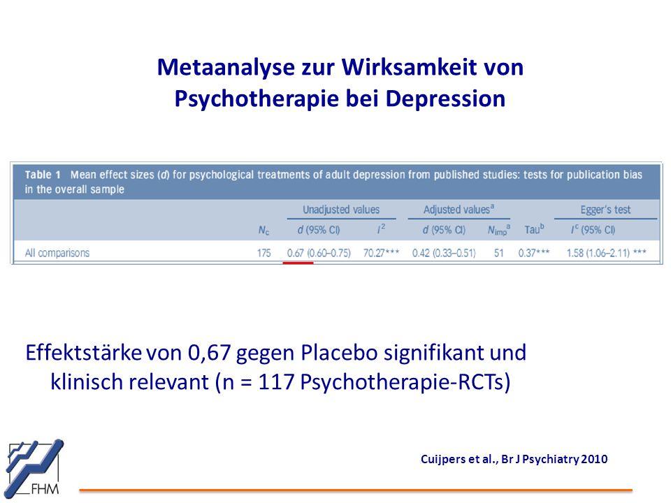 Metaanalyse zur Wirksamkeit von Psychotherapie bei Depression Effektstärke von 0,67 gegen Placebo signifikant und klinisch relevant (n = 117 Psychotherapie-RCTs) Cuijpers et al., Br J Psychiatry 2010