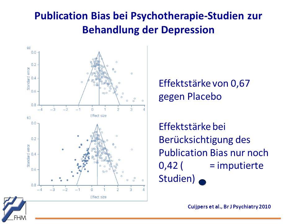 Publication Bias bei Psychotherapie-Studien zur Behandlung der Depression Cuijpers et al., Br J Psychiatry 2010 Effektstärke von 0,67 gegen Placebo Effektstärke bei Berücksichtigung des Publication Bias nur noch 0,42 (= imputierte Studien)