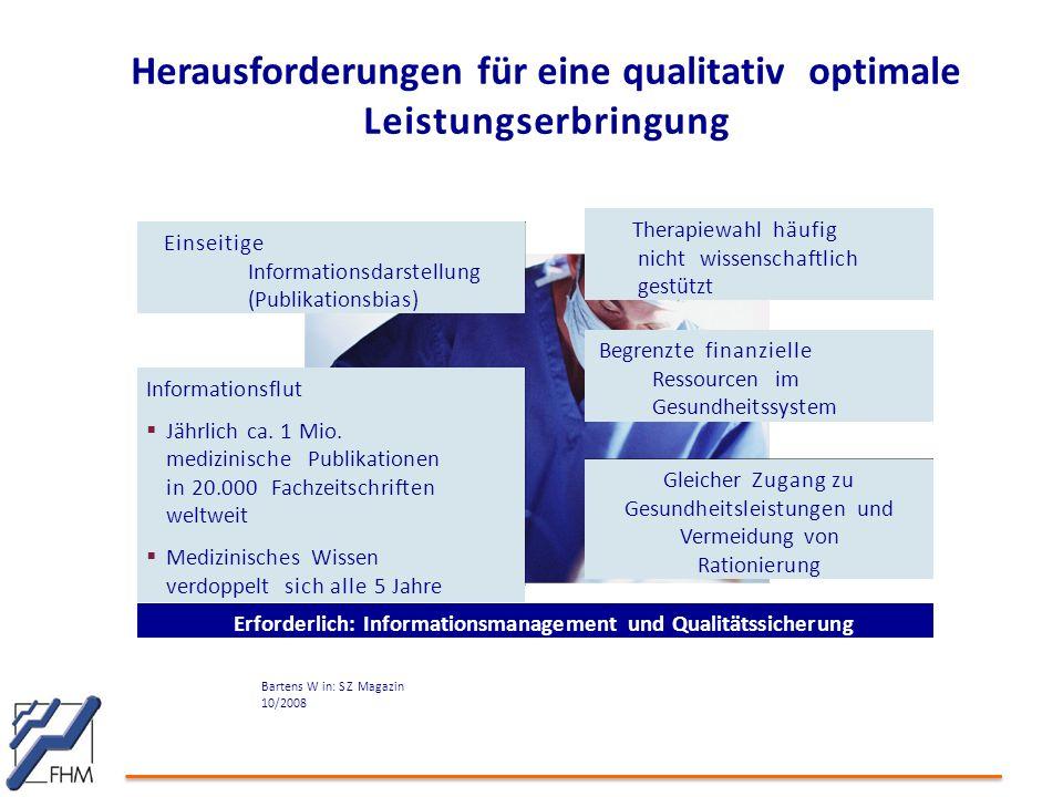 Herausforderungen für eine qualitativ optimale Leistungserbringung Informationsflut  Jährlich ca. 1 Mio. medizinische Publikationen in 20.000 Fachzei