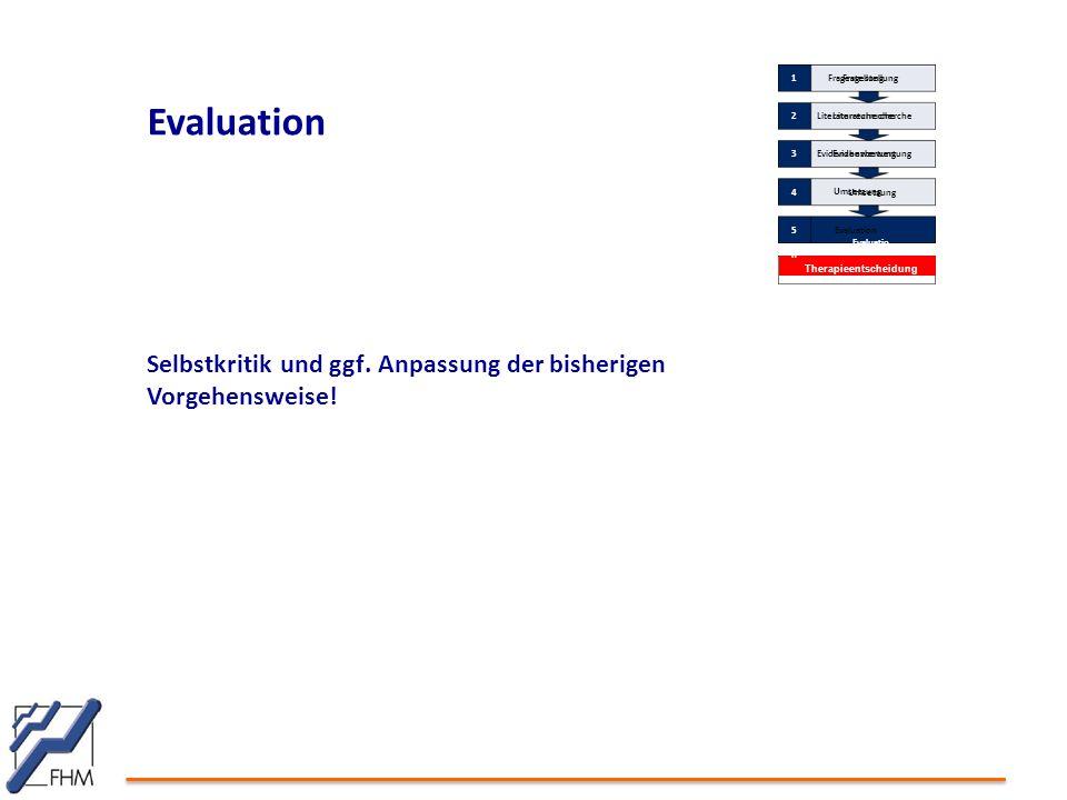 Evaluation Selbstkritik und ggf. Anpassung der bisherigen Vorgehensweise! Therapieentscheidung Fragestellung 1 Literaturrecherche 2 Evidenzbewertung 3