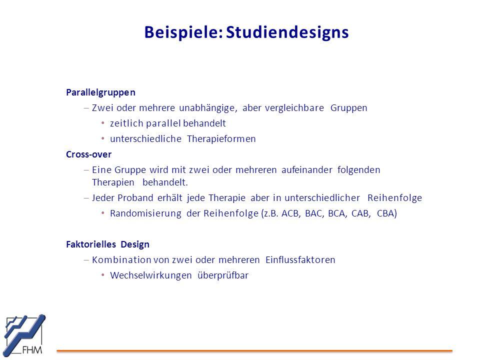 Beispiele: Studiendesigns Parallelgruppen  Zwei oder mehrere unabhängige, aber vergleichbare Gruppen zeitlich parallel behandelt unterschiedliche The