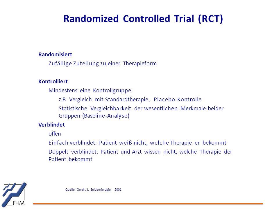 Randomized Controlled Trial (RCT) Randomisiert Zufällige Zuteilung zu einer Therapieform Kontrolliert Mindestens eine Kontrollgruppe z.B. Vergleich mi