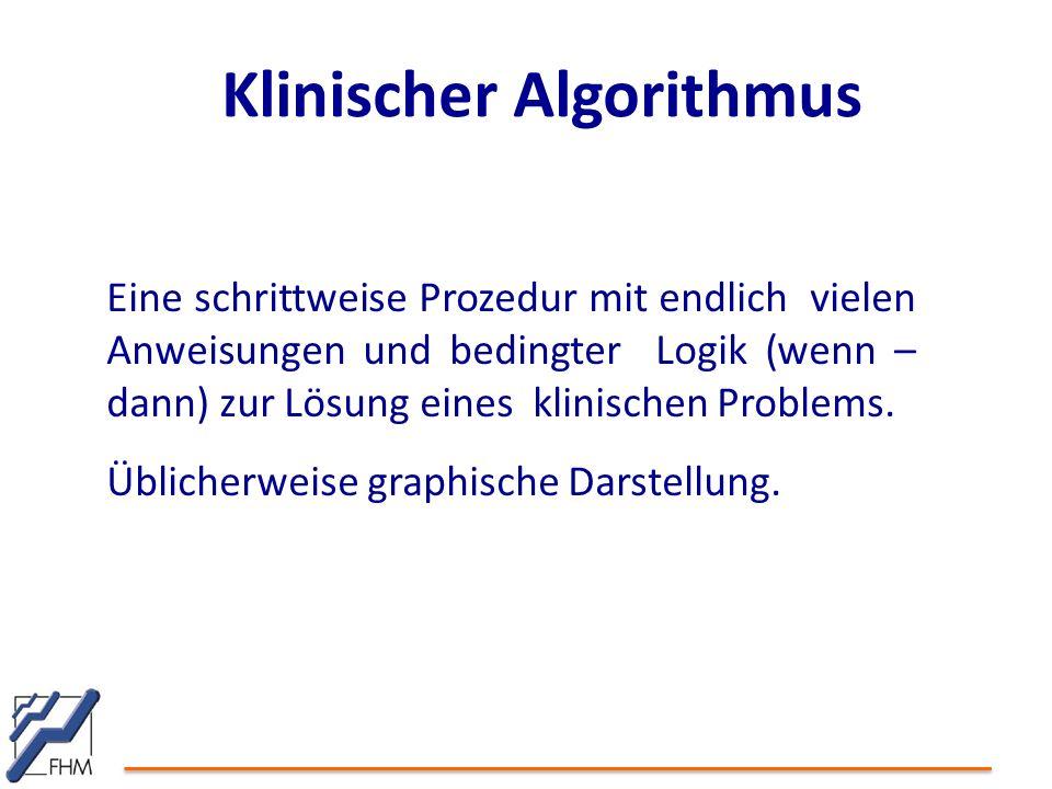 Klinischer Algorithmus Eine schrittweise Prozedur mit endlich vielen Anweisungen und bedingter Logik (wenn – dann) zur Lösung eines klinischen Problem