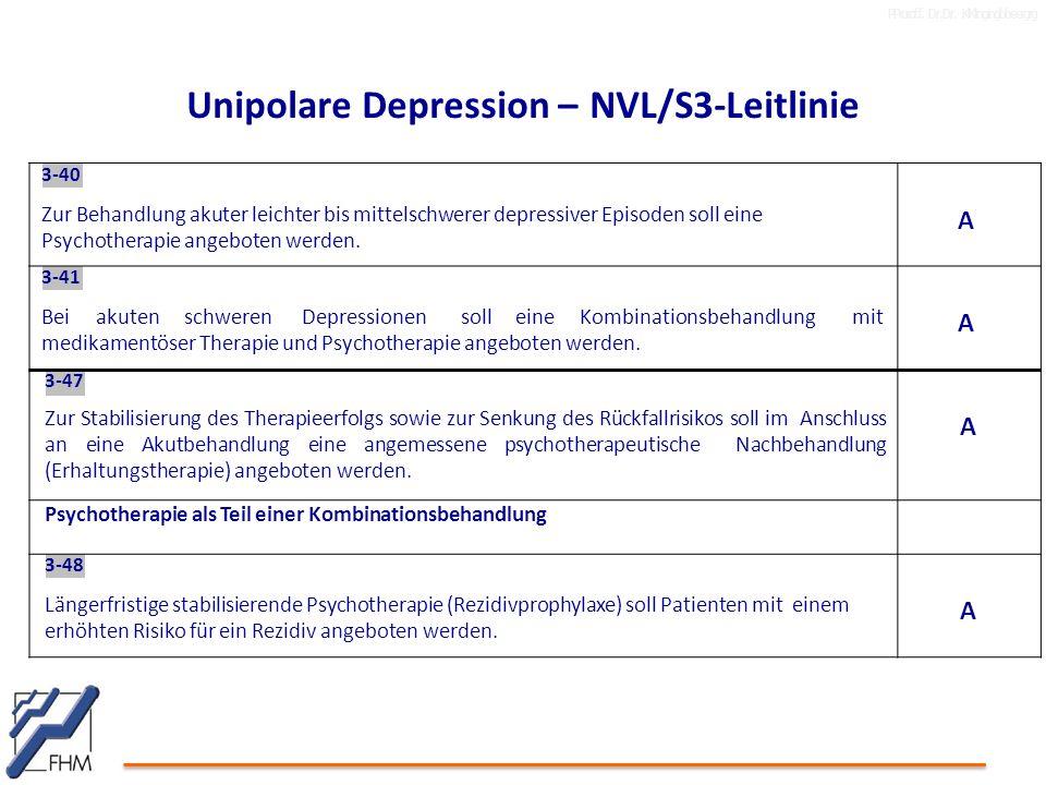 PProrof.f. Dr.Dr. KlKlingingbbeergrg Unipolare Depression – NVL/S3-Leitlinie 3-40 Zur Behandlung akuter leichter bis mittelschwerer depressiver Episod