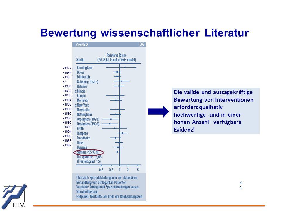 Bewertung wissenschaftlicher Literatur 4343 Die valide und aussagekräftige Bewertung von Interventionen erfordert qualitativ hochwertige und in einer