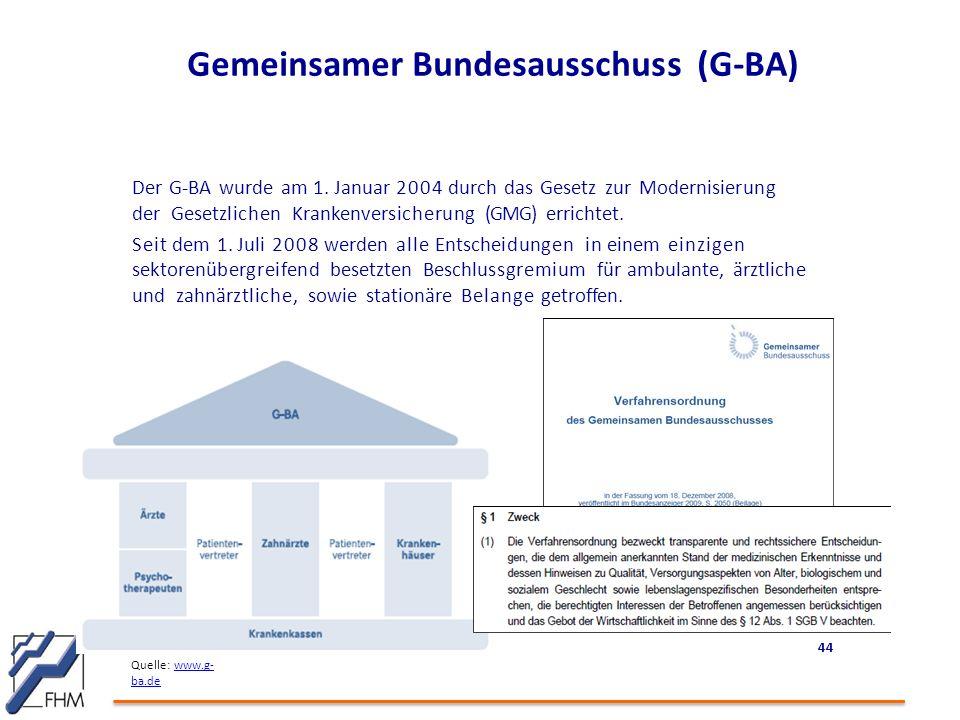 Gemeinsamer Bundesausschuss (G-BA) Der G-BA wurde am 1. Januar 2004 durch das Gesetz zur Modernisierung der Gesetzlichen Krankenversicherung (GMG) err
