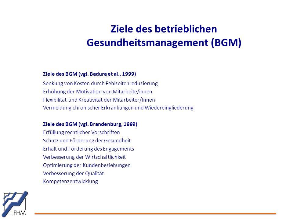 Ziele des betrieblichen Gesundheitsmanagement (BGM) Ziele des BGM (vgl. Badura et al., 1999) Senkung von Kosten durch Fehlzeitenreduzierung Erhöhung d