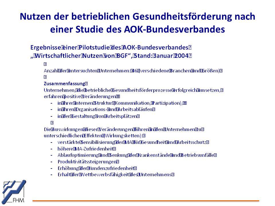 Nutzen der betrieblichen Gesundheitsförderung nach einer Studie des AOK-Bundesverbandes