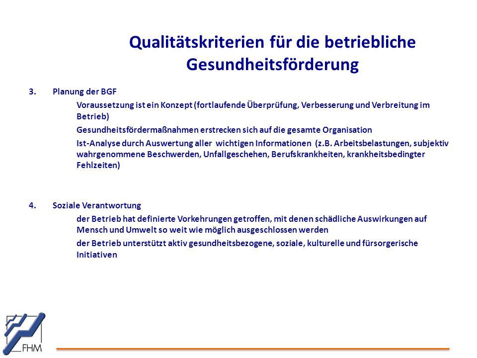 3.Planung der BGF Voraussetzung ist ein Konzept (fortlaufende Überprüfung, Verbesserung und Verbreitung im Betrieb) Gesundheitsfördermaßnahmen erstrecken sich auf die gesamte Organisation Ist-Analyse durch Auswertung aller wichtigen Informationen (z.B.