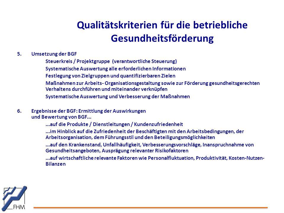 5.Umsetzung der BGF Steuerkreis / Projektgruppe (verantwortliche Steuerung) Systematische Auswertung alle erforderlichen Informationen Festlegung von