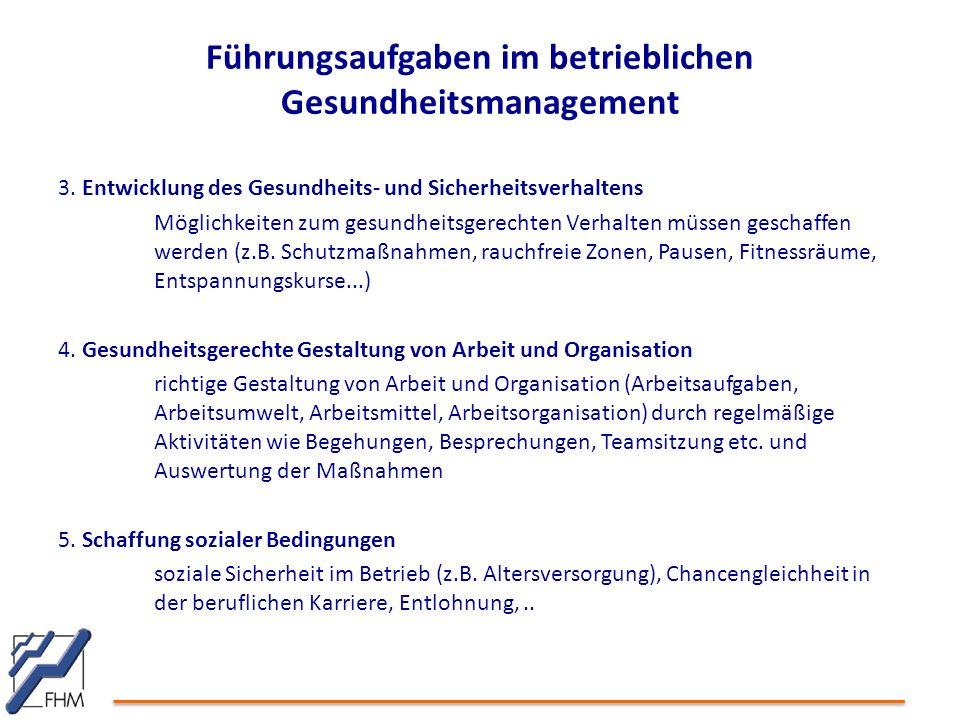 Führungsaufgaben im betrieblichen Gesundheitsmanagement 3. Entwicklung des Gesundheits- und Sicherheitsverhaltens Möglichkeiten zum gesundheitsgerecht