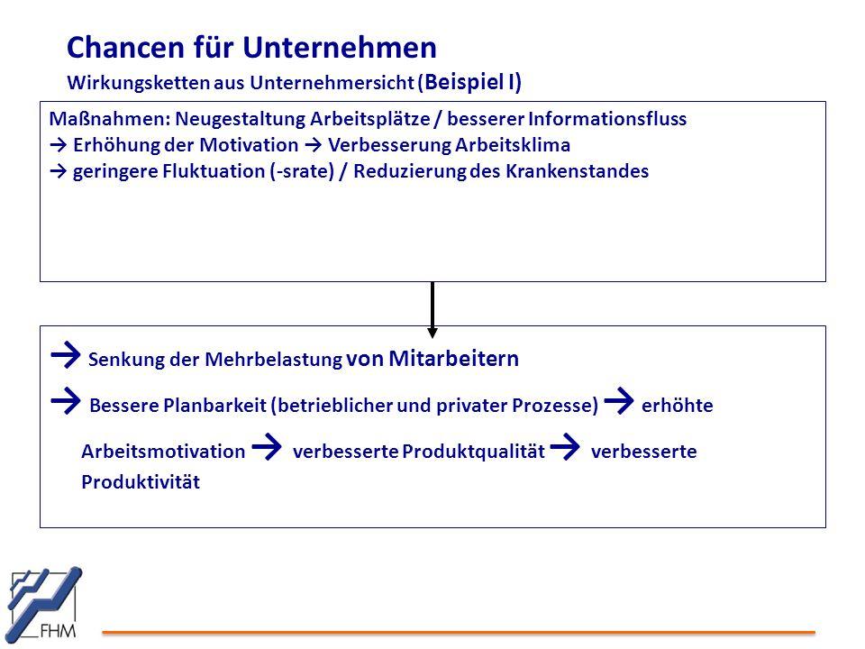 Chancen für Unternehmen Wirkungsketten aus Unternehmersicht ( Beispiel I) Maßnahmen: Neugestaltung Arbeitsplätze / besserer Informationsfluss → Erhöhu