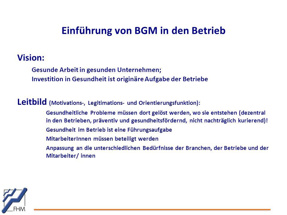 Einführung von BGM in den Betrieb Vision: Gesunde Arbeit in gesunden Unternehmen; Investition in Gesundheit ist originäre Aufgabe der Betriebe Leitbil