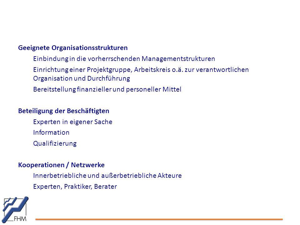 Geeignete Organisationsstrukturen Einbindung in die vorherrschenden Managementstrukturen Einrichtung einer Projektgruppe, Arbeitskreis o.ä. zur verant