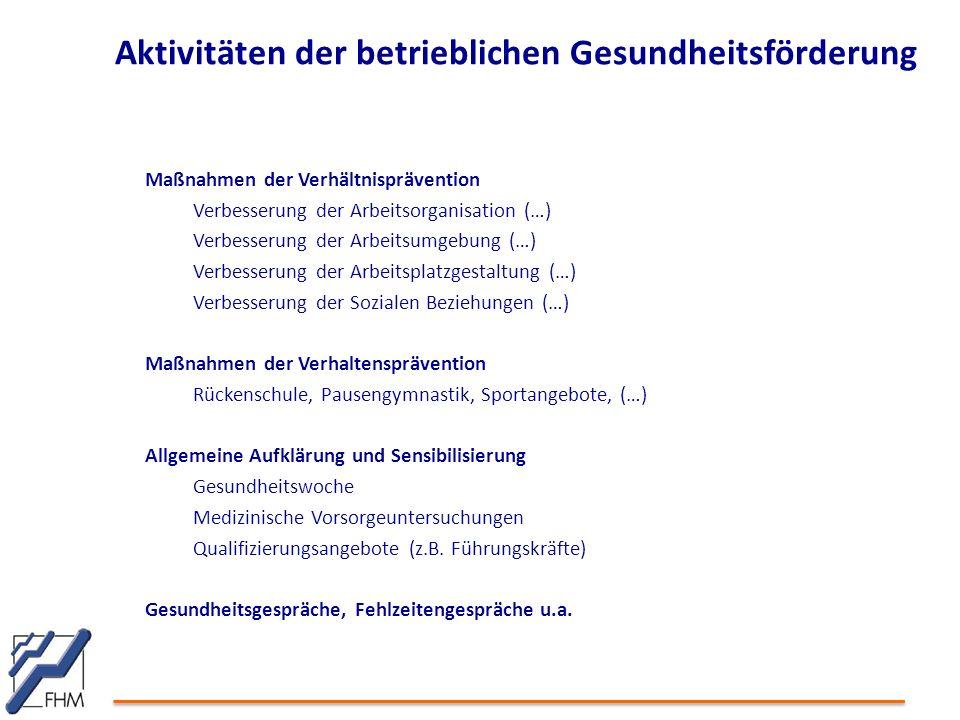 Aktivitäten der betrieblichen Gesundheitsförderung Maßnahmen der Verhältnisprävention Verbesserung der Arbeitsorganisation (…) Verbesserung der Arbeit