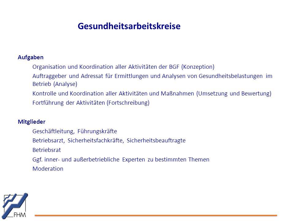 Gesundheitsarbeitskreise Aufgaben Organisation und Koordination aller Aktivitäten der BGF (Konzeption) Auftraggeber und Adressat für Ermittlungen und