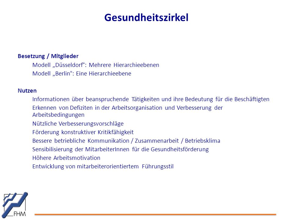 """Gesundheitszirkel Besetzung / Mitglieder Modell """"Düsseldorf """" : Mehrere Hierarchieebenen Modell """"Berlin """" : Eine Hierarchieebene Nutzen Informationen"""