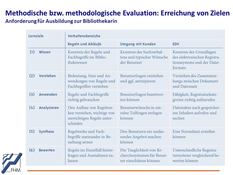 Methodische bzw. methodologische Evaluation: Erreichung von Zielen Anforderung für Ausbildung zur Bibliothekarin