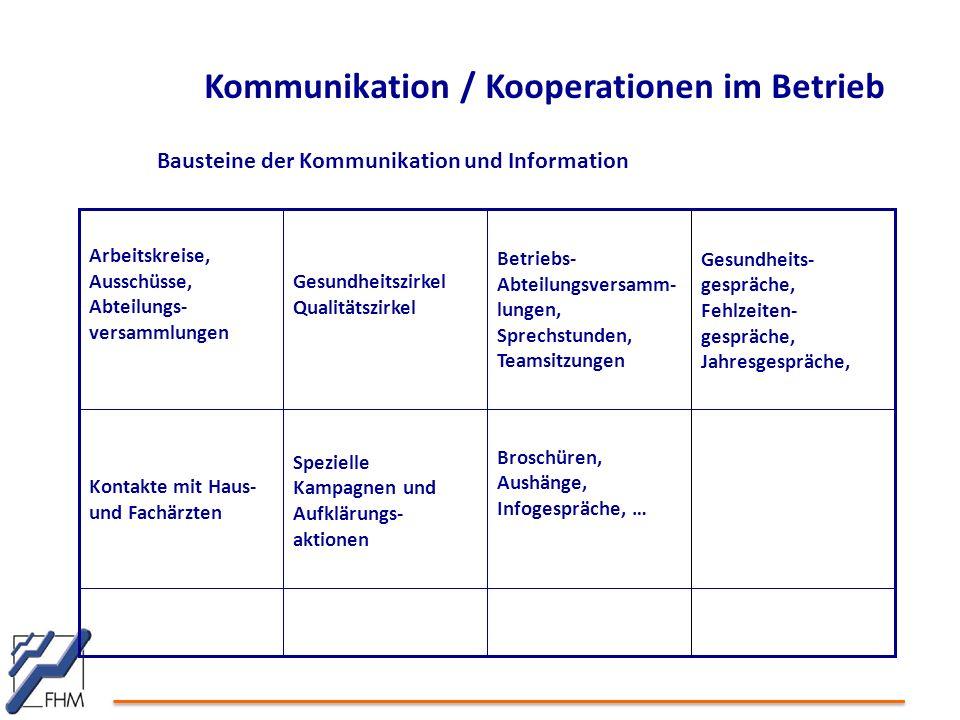 Kommunikation / Kooperationen im Betrieb Broschüren, Aushänge, Infogespräche, … Spezielle Kampagnen und Aufklärungs- aktionen Kontakte mit Haus- und F