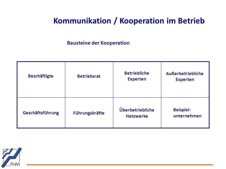 Kommunikation / Kooperation im Betrieb Überbetriebliche Netzwerke FührungskräfteGeschäftsführung Außerbetriebliche Experten Betriebliche Experten Betr