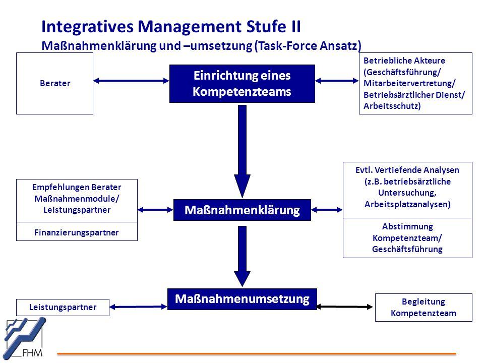 Integratives Management Stufe II Maßnahmenklärung und –umsetzung (Task-Force Ansatz) Einrichtung eines Kompetenzteams Berater Maßnahmenklärung Betrieb