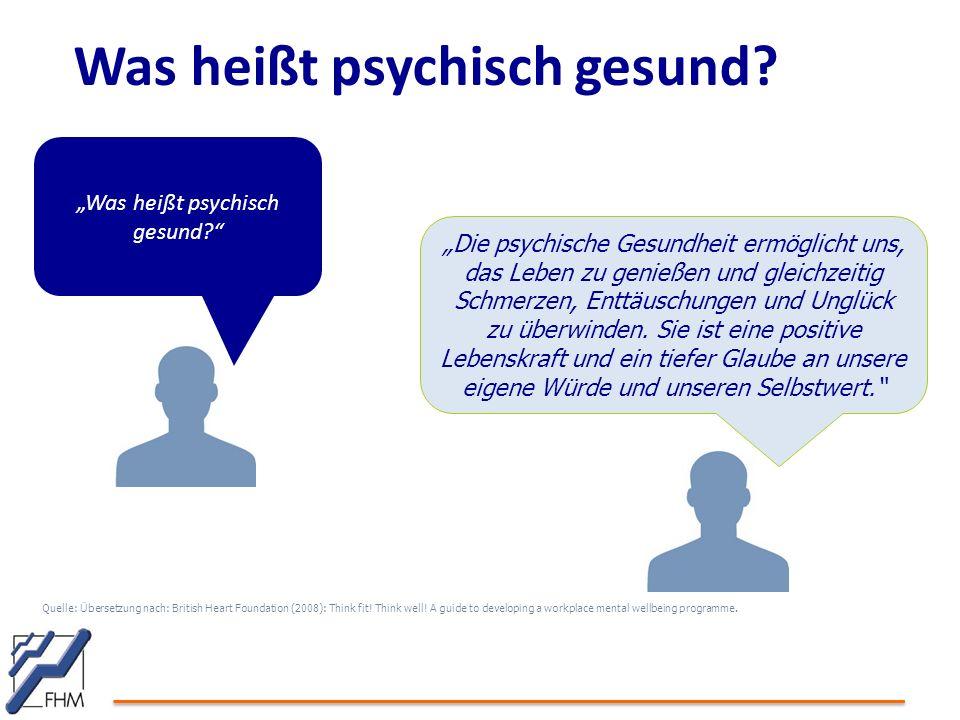 Was heißt psychisch gesund? Quelle: Übersetzung nach: British Heart Foundation (2008): Think fit! Think well! A guide to developing a workplace mental
